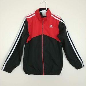 Adidas Track Jacket Zip Front Red Black 7 #3096